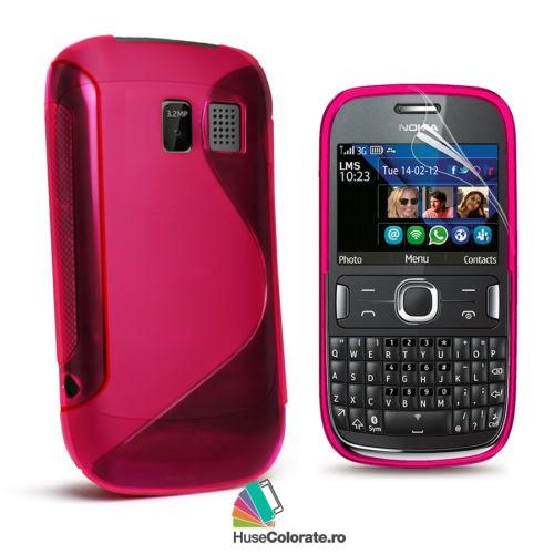 Husa_Gel_Silicon_Nokia_Asha_302_Model_S_Roz