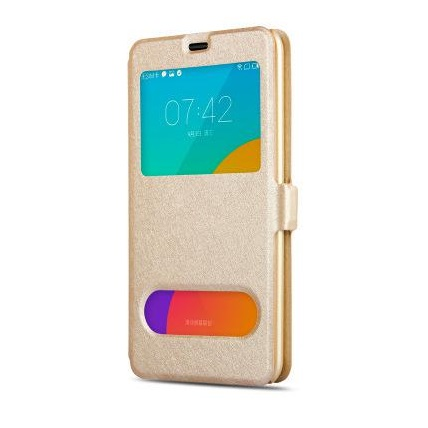 Husa-Samsung-Galaxy-J3-sau-J3-2016-J320-Toc-Flip-Orizontal-Book-Window-View-Fereastra-Auriu-Gold