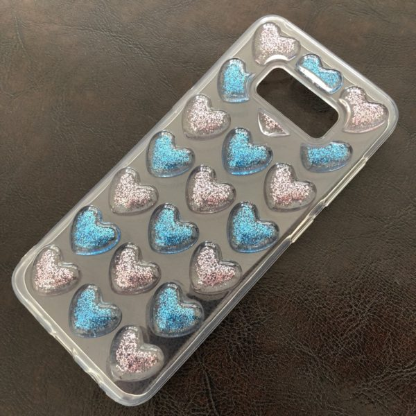 Husa Samsung Galaxy S8 Glitter Hearts 3D Pink-Blue