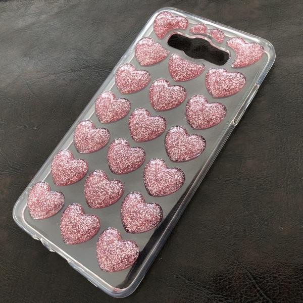 Husa Samsung J7 2016 Glitter 3D Hearts Pink