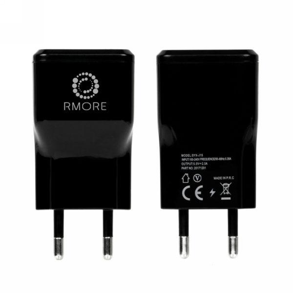 Incarcator Retea RMORE Universal Travel Adapter USB 2A Negru + Cablu Type-C Cadou