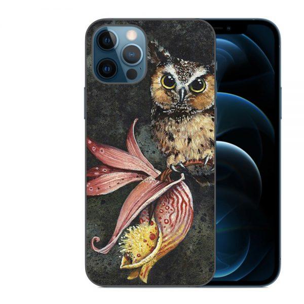 Husa-iPhone-12-Pro-Silicon-Gel-Tpu-Model-Owl-Painted