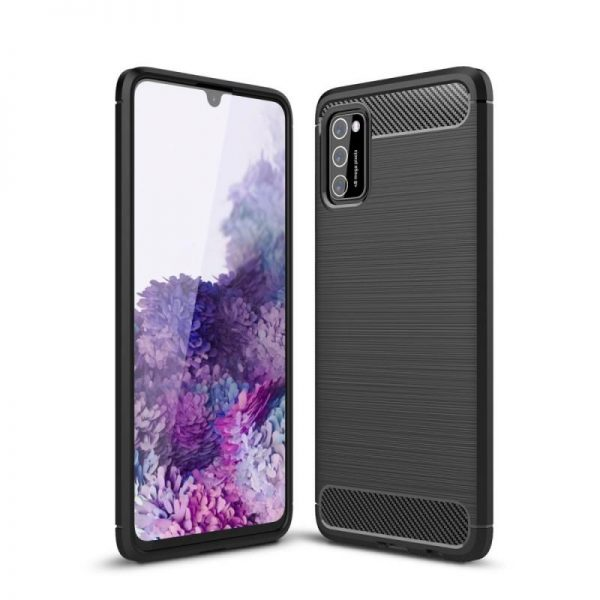 Husa Samsung Galaxy A41 Silicon TPU Tech-Protect Carbon ANTISHOCK Armour Neagra