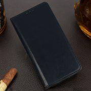 Husa Tip Carte Telefon Toc Book Flip Piele Naturala Albastru Navy3