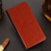 Husa Tip Carte Telefon Toc Book Flip Piele Naturala Maro3