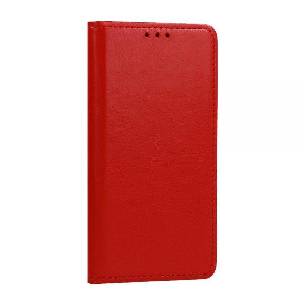 Husa Tip Carte Telefon Toc Book Flip Piele Naturala Rosie