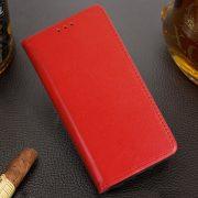 Husa Tip Carte Telefon Toc Book Flip Piele Naturala Rosie3