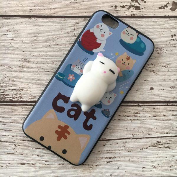 Husa-iPhone-6-sau-iPhone-6S-Silicon-Squishi-3D-Pisicuta-Albastru