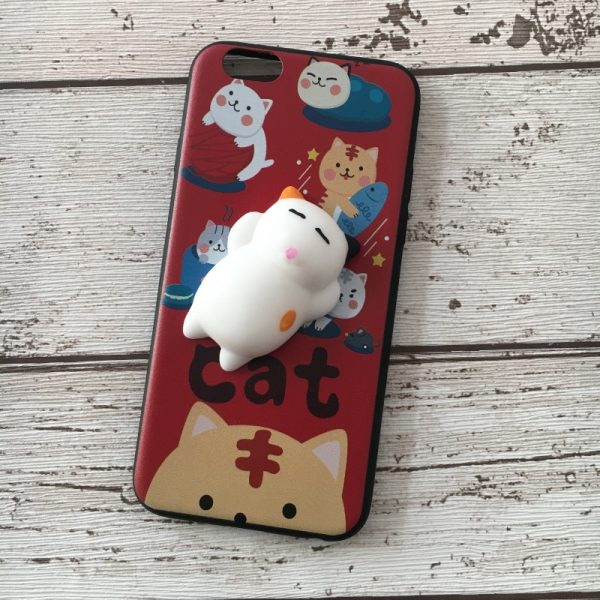Husa-iPhone-6-sau-iPhone-6S-Silicon-Squishi-3D-Pisicuta-Rosie