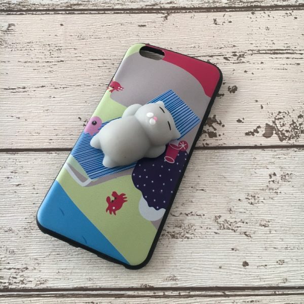 Husa-iPhone-6-sau-iPhone-6S-Silicon-Squishi-3D-Pisicuta-Summer