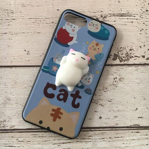 Husa-iPhone-7-Plus-sau-8-Plus-Silicon-Squishi-3D-Pisicuta-Albastru