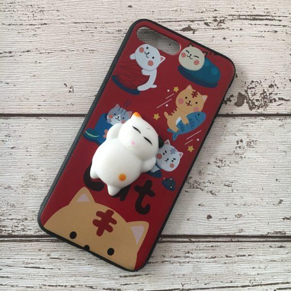 Husa-iPhone-7-Plus-sau-8-Plus-Silicon-Squishi-3D-Pisicuta-Rosie