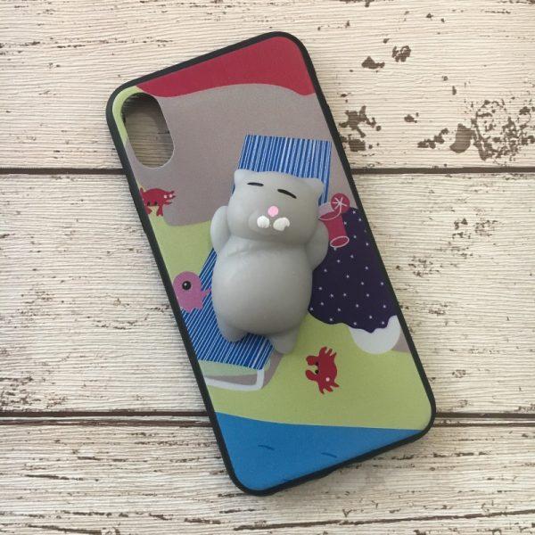 Husa-iPhone-X-sau-iPhone-XS-Silicon-Squishi-3D-Pisicuta-Summer