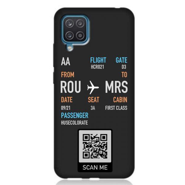 Husa Personalizabila Samsung Galaxy A12 Model Bilet Avion Cod QR Silicon Neagra